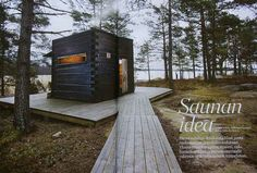 Sauna by the lake, Finland Cabins In The Woods, House In The Woods, Sauna House, Portable Sauna, Arched Cabin, Sauna Design, Outdoor Sauna, Finnish Sauna, Small Buildings
