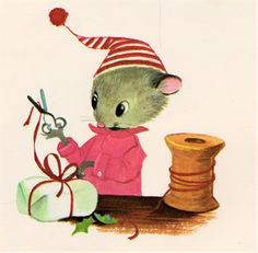 "Festive mouse from ""Santa Mouse"" by Michael Brown, illustrated by Elfrieda De Witt (1968)"