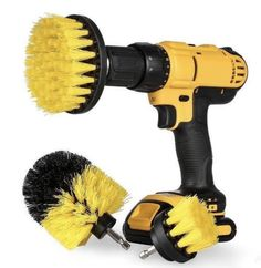 Scrub Brush Drill Attachment Set - All Purpose Power Scrubber Cleaning Brush for