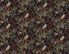 Braquenié from Pierre Frey | print becomes embroidery! We took, from our archives, a pattern composed of exotic flowers which was printed on cotton around 1860 and transposed into multi-coloured embroidery on cotton satin. The black background was particularly popular during the Second Empire.