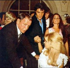 Frank and Nancy Sinatra with Elvis and Priscilla at Aug 29th 1969 opening of Nancy's first Las Vegas headliner show at the International Hotel (Hilton Hotel later on) - she followed Barbara Strisand and Elvis as first openers in the then new hotel/casino showroom.