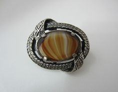 Vintage Miracle Scarf Clip Scottish Banded Glass Agate Silver Tone Metal 1970 s