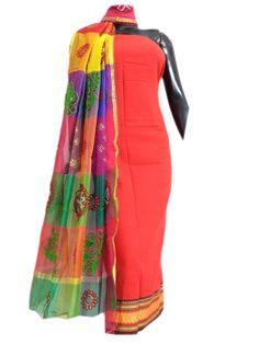 Maheshwari Dupatta&Mangalgiri Kurta- Red&Multicolored