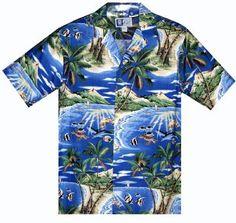 Under the Sea - Mens Hawaiian Aloha Shirt - Royal, Tropical Hawaiian Aloha Shirts (Cotton), 102C-960-Royal - Paradise Clothing Company