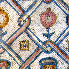 Byzantine flowers and vessels mosaic fabric by bonnie_phantasm on Spoonflower - custom fabric