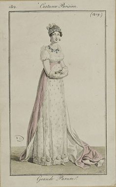 A dress and train grande parure. Not sure that a train necessarily means court wear but it might do! 1812 costume parisien