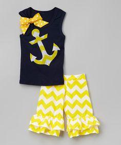Navy Anchor Tank & Yellow Ruffle Shorts - Infant, Toddler & Girls #zulily #zulilyfinds