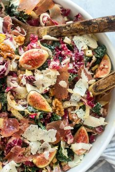 Kale Salad With Prosciutto And Figs salad salad salad recipes grillen rezepte zum grillen Fig Recipes, Summer Recipes, Healthy Recipes, Winter Salad Recipes, Kale Salad Recipes, Prosciutto, Healthy Cooking, Healthy Eating, Fig Salad