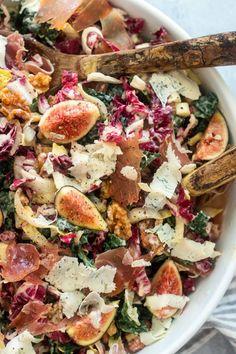 Kale Salad With Prosciutto And Figs salad salad salad recipes grillen rezepte zum grillen Fig Recipes, Summer Recipes, Healthy Recipes, Winter Salad Recipes, Kale Salad Recipes, Dried Figs, Fresh Figs, Prosciutto, Fig Salad