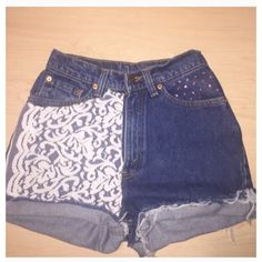 26 Lace Levi's High Waisted Denim Shorts Waist Approx 26 Hips Approx... (665 ZAR) ❤ liked on Polyvore featuring shorts, black, women's clothing, short shorts, black shorts, high-waisted denim shorts, black high waisted shorts and high waisted lace shorts