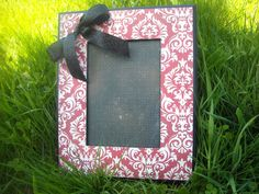 Picture frame. Red and white sparkle damask by MarieJamesDesign, $20.00