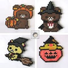 Halloween Rilakkuma Perler Halloween Beads, Halloween Patterns, Halloween 2020, Holidays Halloween, Girls Night Crafts, Craft Night, Fuse Beads, Pearler Beads, Halloween Cross Stitches