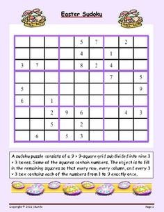 Here's an Easter themed sudoku puzzle.