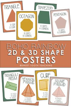 Love the boho and neutral colored classroom decor? These shape posters include 2D and 3D shapes and are a part of the Boho Rainbow Classroom Decor Kit Classroom Hacks, Classroom Decor Themes, Teaching Math, Teaching Resources, Teacher Posters, Special Education Math, 2d And 3d Shapes, Shape Posters, Boho Theme