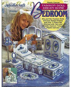 Fashion Doll Dream Home Bedroom Plastic Canvas Pattern The Needlecraft Shop 923717.