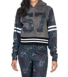 ROYAL BLUE Pullover mix media tricot spatter paint hoodie Long sleeves Number 57 on front Paint spatter back Single front kangaroo pocket