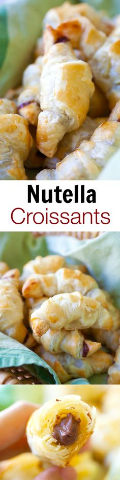 Nutella Croissants - 3-ingredients recipe loaded with rich, creamy Nutella in flaky and buttery croissants. Easiest and BEST Nutella croissants ever | rasamalaysia.com