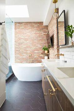 Renovating to Rustic: A Venice Townhouse's Modern Makeover – Homepolish Brick Bathroom, Bathroom Interior, Modern Bathroom, Master Bathrooms, Beautiful Bathrooms, White Bathroom, Mini Bad, Bathroom Trends, Bathroom Ideas