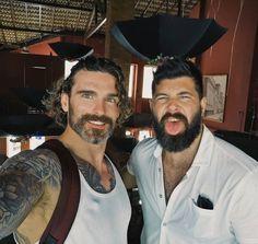 """bearditorium: """"Stu & Franggy """" *** (NKOTT) Stuart Reardon, Long Hair Beard, Husband Best Friend, Beard Humor, Beard Tattoo, Guy Pictures, Hair And Beard Styles, Grey Hair, Good Looking Men"""