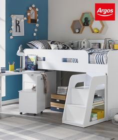 Underneath storage, or amazing hiding places….whatever keeps them busy and the bedroom tidy. With the ultimate storage bedframes, you can make space in even the smallest of rooms. This is the Argos Home Ultimate Storage White Mid Sleeper Bed Frame Childrens Bedroom Furniture, Childrens Beds, Small Childrens Bedroom Ideas, Furniture Dolly, Desk Shelves, Built In Shelves, White Mid Sleeper, White Kids Bed, Cabin Beds For Kids