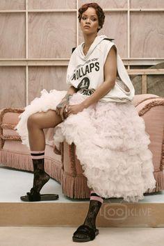 Rihanna wearing  Stance x Rihanna Lace Sock, Raf Simons S/S 2002 Sleeveless Kollaps Hoodie, Puma Fur Sandals