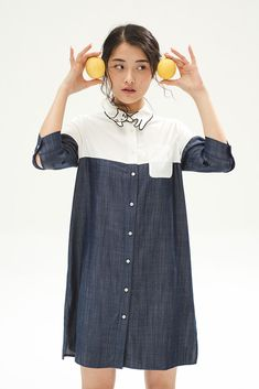 Denim Cat Shirt Dres