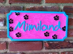 The Carving Company | Full Service Custom Carved Sign Shop | Personalized Pet Name Sign (1 name) - Carved Wood Sign (P4)