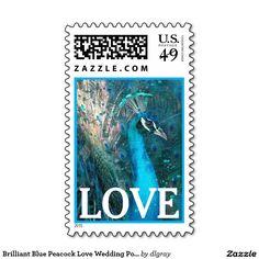 Brilliant Blue Peacock Love Wedding Postage