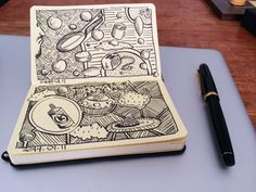 Doodling in my pocket Moleskine sketchbook with my Namiki Falcon fountain pen whilst I wait for tonight's photoshoot.