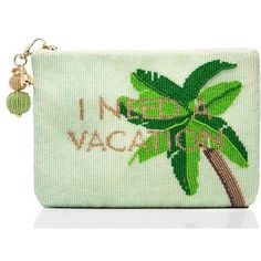 Kate Spade On Purpose Palm Tree Beaded Pouch (22155 RSD) ❤ liked on Polyvore featuring bags, handbags, clutches, green clutches, pouch purse, green purse, kate spade handbag and beaded pouch
