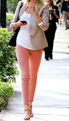 Beige blazer, white tank & peach pants.