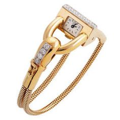 Van Cleef & Arpels Lady's Yellow Gold and Diamond Cadenas Bracelet Watch 1940s