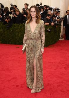 Leighton Meester  2014 Met Gala. red carpet. mildred moda