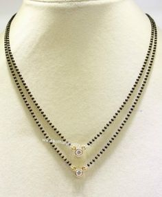 Black Beads Chain with Solitaire Diamond Pendant