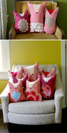 Fox pillows similiar shape to the owl. Mmm