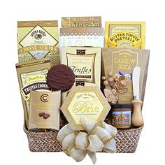 This gift basket includes: • Cashew Roca • Chocolate Truffle Cookies • Chocolate Raspberry Truffles • Cheese Straws • Lacey's Chocolate Wafer Cookies • Chocolate Truffles • Butter Toff...
