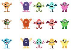 Kleurrijke monsters.