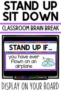 Stand Up Sit Down Classroom Brain Break Brain Break Game for Students Classroom Behavior, Kindergarten Classroom, School Classroom, Classroom Activities, Classroom Management, Classroom Ideas, Music Classroom, Google Classroom, Classroom Routines
