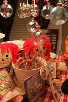 Christmas Birthday decor for Raggedy Ann & Andy 1st Birthday Party  Twin Boy and Girl Christmas 1st Birthday Party