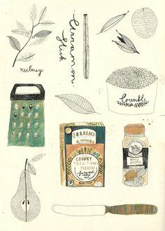 http://lespapierscolles.wordpress.com/2013/04/19/katt-frank/  Katt Frank et ses petites recettes illustrées ! #illustration #recette #art #graphisme #dessin