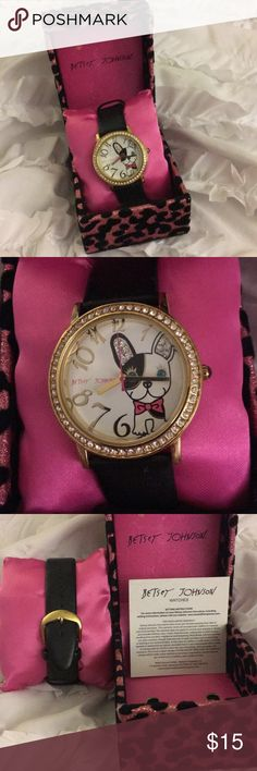 Betsey Johnson Watch Betsey Johnson Watch. Black leather band with white and gold face. With a Dog. Battery is dead. Betsey Johnson Accessories Watches