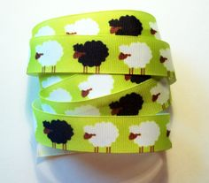 Green Grosgrain Ribbon   Black and White Sheep by SunnyDaySupplies