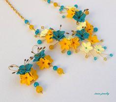 Joyería de la turquesa flor collar declaración por insoujewelry