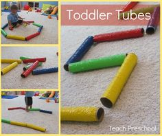 "How to Make Toddler Tubes!  What an amazing, fun and easy idea.  It goes hand in hand with a book we have in the store called ""Wiggle Giggle Squiggle"".  It was written by two Colorado Springs local therapists who realize that young children learn best by being active!"
