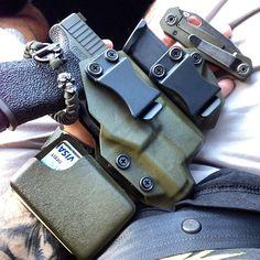 OD Green EDC Holster featuring a Glock handgun