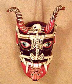 Williams Gallery West, Folk Art, Mexico, Juan Horta Castillo Michoacan Devil Mask with Skeleton