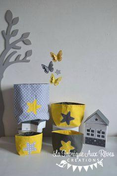 lot 4 pochons rangement étoiles jaune gris blanc - décoration chambre bébé jaune gris blanc hibou étoiles