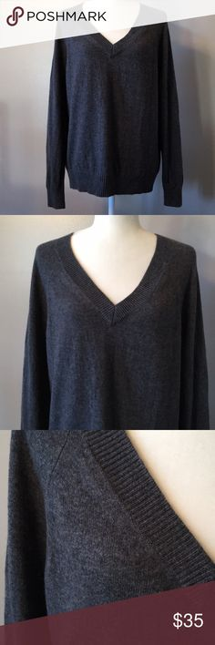 "NWT Gap Wool & Cashmere Pullover Sweater NWT. Gap v-neck pullover sweater. Wool with 10% cashmere. Super soft & cozy. Rich charcoal grey in color. 22"" bust. Size large. GAP Sweaters V-Necks"