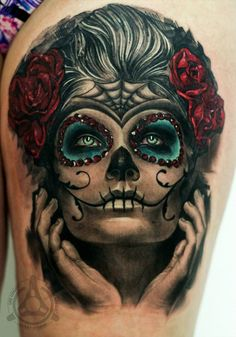 beautiful Catrina, Day of the Dead, Dia de Los Muertos tattoo by Led Coult, artist