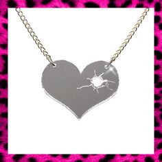 BROKEN HEART NECKLACE MIRROR EMO CUTE BULLET HOLE ROCKABILLY PIN UP LOVE VINTAGE | eBay